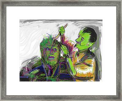 Wolfie Gets A Haircut Framed Print by Russell Pierce
