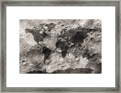 World Map On The Moon's Surface Framed Print by Michael Tompsett