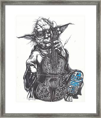 Yoda Soothes Baby R2 With The Charm Of His Homegrown Cello Framed Print by Tai Taeoalii