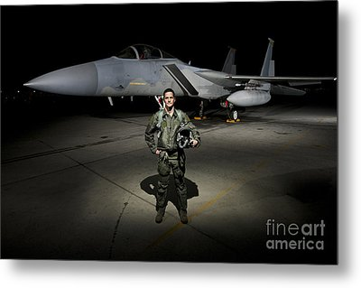 A U.s. Air Force Pilot Stands In Front Metal Print by Terry Moore