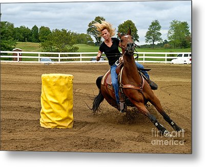 Horse And Rider In Barrel Race Metal Print by Amy Cicconi