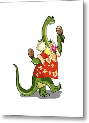 Illustration Of A Brontosaurus Playing Metal Print by Stocktrek Images