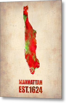 Manhattan Watercolor Map Metal Print by Naxart Studio