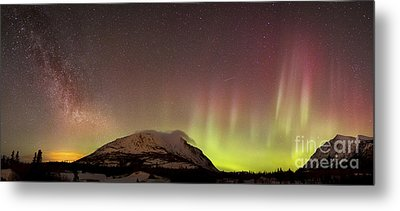 Red Aurora Borealis And Milky Way Metal Print by Joseph Bradley