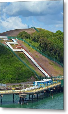 Refinary Pipeline In Milford Haven Metal Print by Panoramic Images