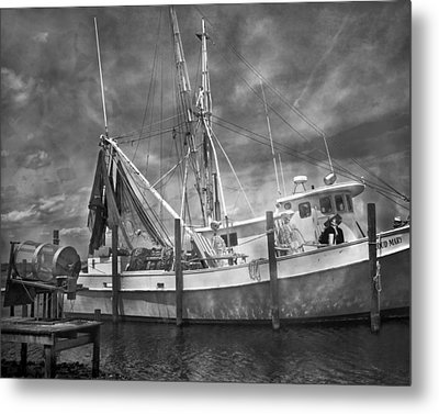 Shrimpin' Boat Captain And Mates Metal Print by Betsy Knapp