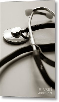 Stethoscope Metal Print by Olivier Le Queinec