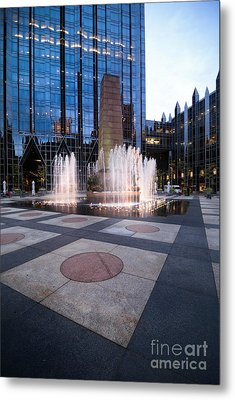 Water Fountain At Ppg Place Plaza Pittsburgh Metal Print by Amy Cicconi