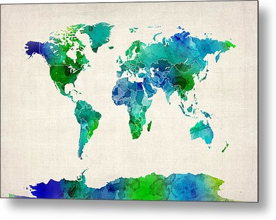 Watercolor Map Of The World Map Metal Print by Michael Tompsett