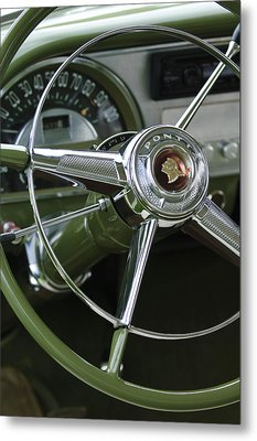 1953 Pontiac Steering Wheel Metal Print by Jill Reger