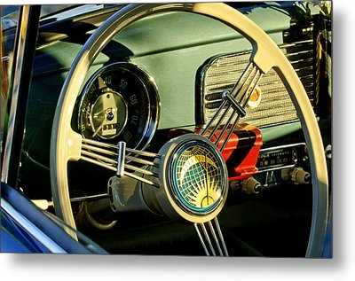 1956 Volkswagen Vw Bug Steering Wheel 2 Metal Print by Jill Reger