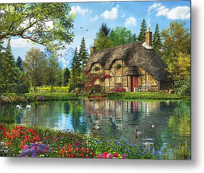 Lake View Cottage Metal Print by Dominic Davison