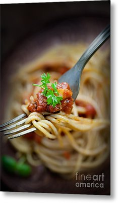 Pasta With Tomato Sauce Metal Print by Mythja  Photography