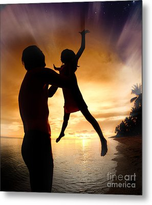 Silhouette Family Of Child Hold On Father Hand Metal Print by Anek Suwannaphoom