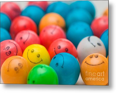 Smiley Face Gum Balls Metal Print by Amy Cicconi