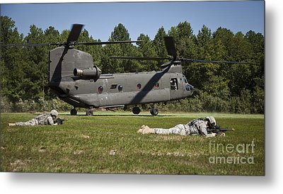 U.s. Soldiers Provide Security Metal Print by Stocktrek Images