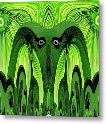 482 - Green Ghost Of The Woods Metal Print by Irmgard Schoendorf Welch