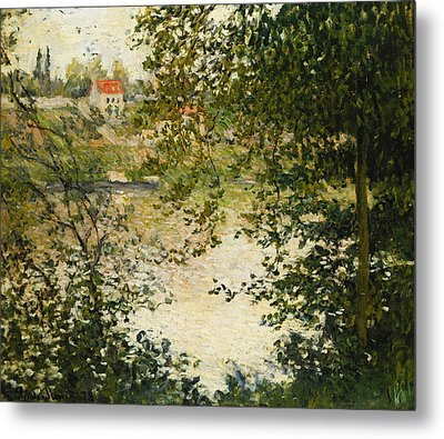 A View Through The Trees Of La Grande Jatte Island Metal Print by Claude Monet