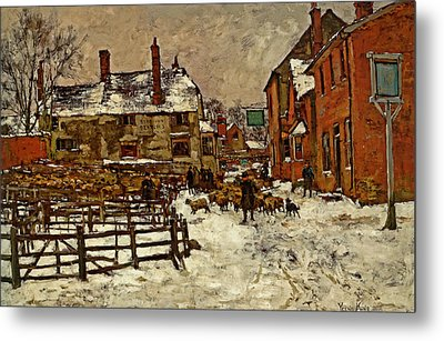 A Village In The Snow Metal Print by Henry King