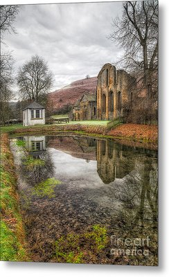 Abbey Reflection Metal Print by Adrian Evans