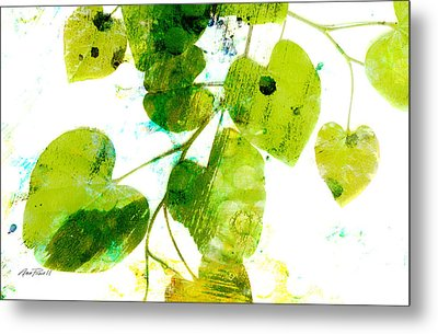Abstract Leaves Green And White  Metal Print by Ann Powell