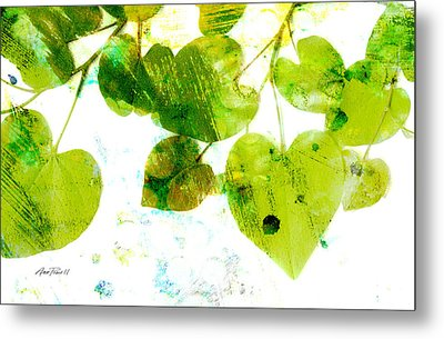Abstract Leaves II Green And White  Metal Print by Ann Powell
