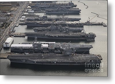 Aircraft Carriers In Port At Naval Metal Print by Stocktrek Images