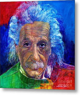 Albert Einstein Metal Print by David Lloyd Glover