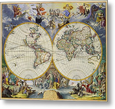 Artistic Old World Art Map  Metal Print by Inspired Nature Photography Fine Art Photography