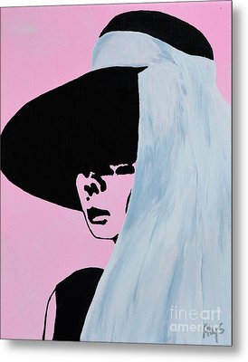 Audrey Hepburn Wears A Hat Metal Print by Alys Caviness-Gober