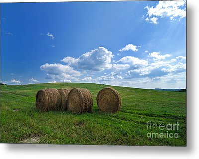 Bales Of Hay In A Field Metal Print by Amy Cicconi