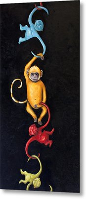Barrel Of Monkeys Metal Print by Leah Saulnier The Painting Maniac
