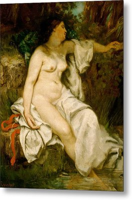 Bather Sleeping By A Brook Metal Print by Gustave Courbet
