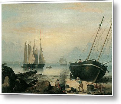 Beached For Repairs Duncan's Point Gloucester Metal Print by Fitz Hugh Lane