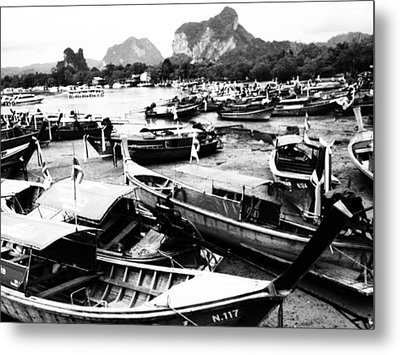 Beached Longboats Metal Print by Justin Woodhouse