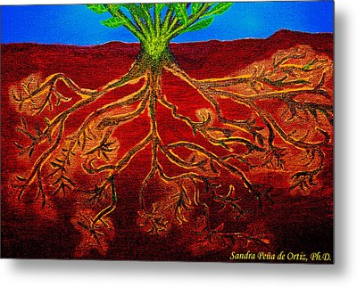Being Rooted And Grounded In My Good Soil Metal Print by Sandra Pena de Ortiz