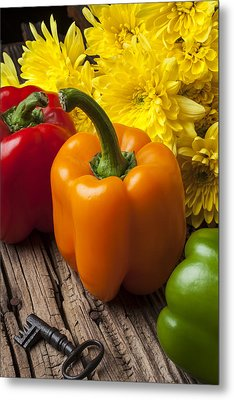 Bell Peppers And Poms Metal Print by Garry Gay