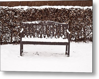 Bench In The Snow Metal Print by Tom Gowanlock