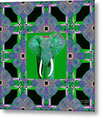 Big Elephant Abstract Window 20130201p128 Metal Print by Wingsdomain Art and Photography
