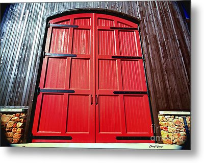 Big Red Doors Metal Print by Cheryl Young