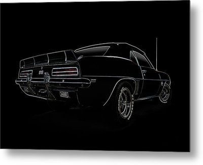 Black Ss Line Art Metal Print by Douglas Pittman