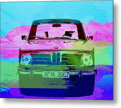Bmw 2002 Front Watercolor 1 Metal Print by Naxart Studio