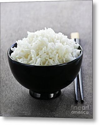 Bowl Of Rice With Chopsticks Metal Print by Elena Elisseeva