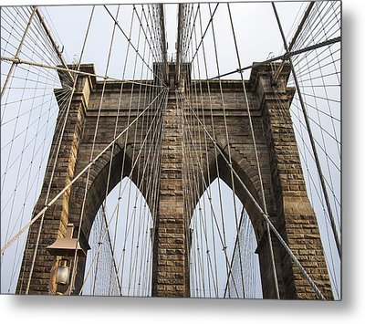Brooklyn Bridge Tower Metal Print by Frank Winters