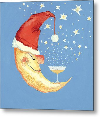 Bubbly Christmas Moon Metal Print by David Cooke