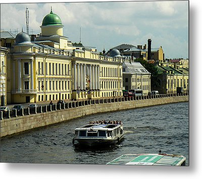 Canal And Historic Buildings Saint Petersburg Russia Metal Print by Robert Ford