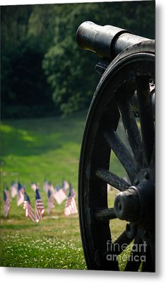 Cannon Memorial With American Flags Metal Print by Amy Cicconi