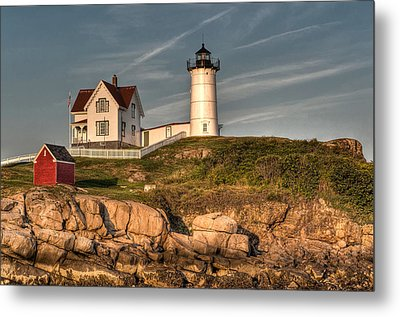 Cape Neddick Lighthouse In Evening Light Metal Print by At Lands End Photography