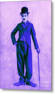 Charlie Chaplin The Tramp 20130216m60 Metal Print by Wingsdomain Art and Photography