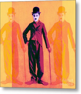 Charlie Chaplin The Tramp Three 20130216 Metal Print by Wingsdomain Art and Photography
